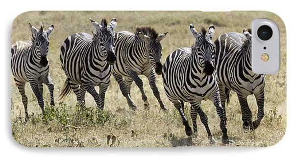 IPhone Case featuring the photograph Wild Zebras Running  by Chris Scroggins