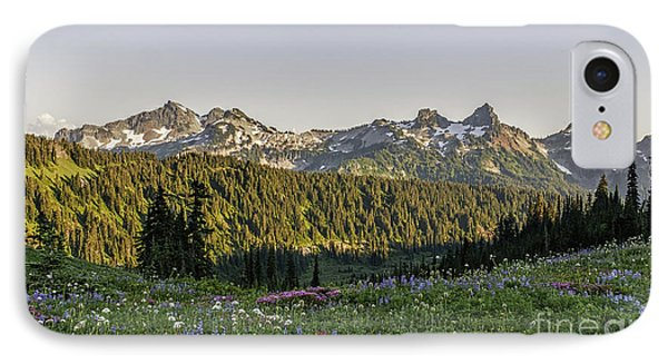 Wildflowers And The Tatoosh Range IPhone Case by Sharon Seaward