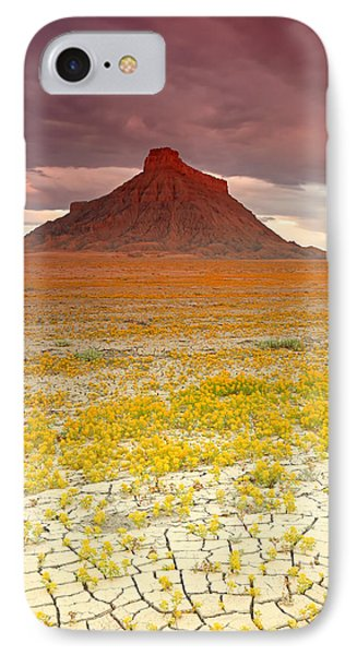 Wildflowers At Factory Butte. IPhone Case by Johnny Adolphson