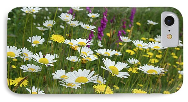 Wildflowers, Daisies, Hollyhock IPhone Case