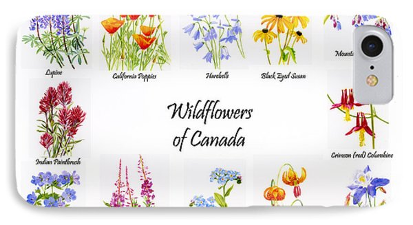 Wildflowers Of Canada Poster Phone Case by Sharon Freeman