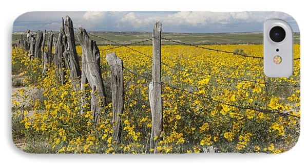 Wildflowers Surround Rustic Barb Wire Phone Case by David Ponton
