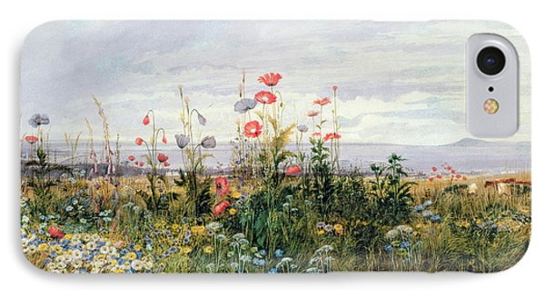 Garden iPhone 7 Case - Wildflowers With A View Of Dublin Dunleary by A Nicholl