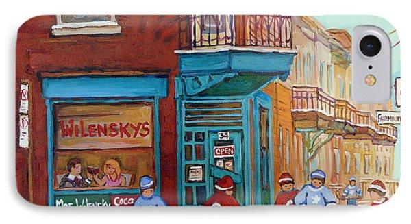 Wilensky Montreal-fairmount And Clark-montreal City Scene Painting Phone Case by Carole Spandau