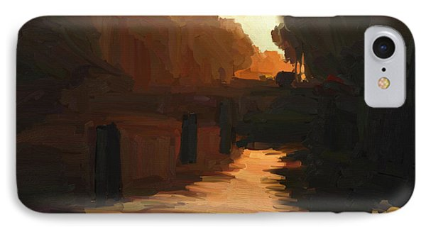 IPhone Case featuring the painting Wilhelmina Canal In Autumn Morning Light by Nop Briex