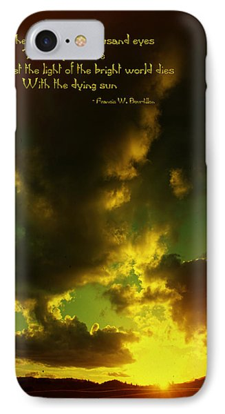 Willamette Valley Sunset And Quote IPhone Case by Mick Anderson