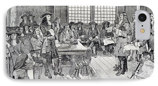 William Penn In Conference With The Colonists, Illustration From The First Visit Of William Penn IPhone Case by Howard Pyle
