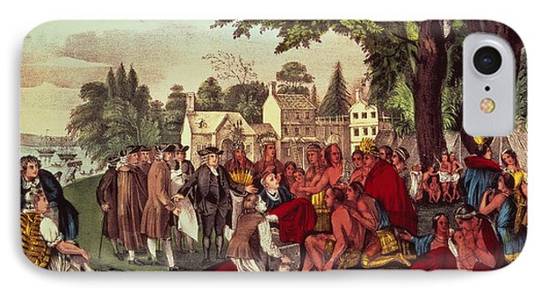 William Penn's Treaty With The Indians IPhone Case by Currier and Ives