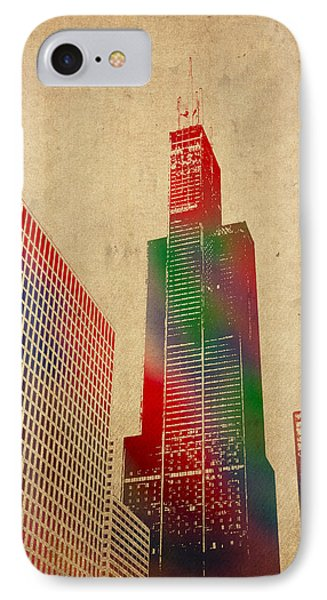 Willis Sears Tower Chicago Illinois Watercolor On Worn Canvas Series IPhone Case