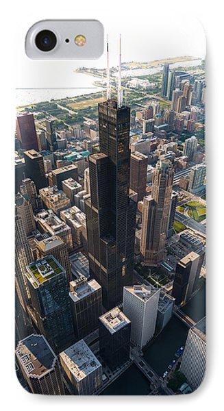 Willis Tower Chicago Aloft IPhone Case by Steve Gadomski