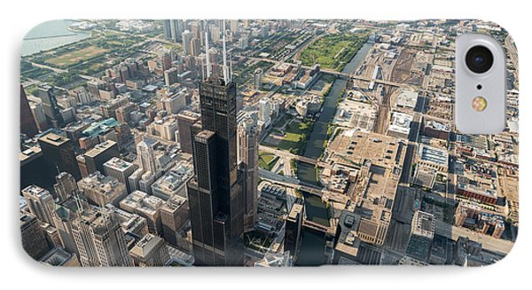 Willis Tower Southwest Chicago Aloft IPhone Case by Steve Gadomski