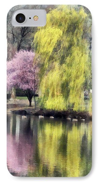 Willow And Cherry By Lake Phone Case by Susan Savad