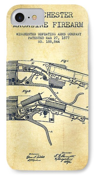 Winchester Firearm Patent Drawing From 1877 - Vintage IPhone Case by Aged Pixel