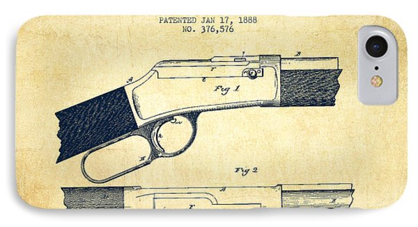 Winchester Firearm Patent Drawing From 1888- Vintage Phone Case by Aged Pixel