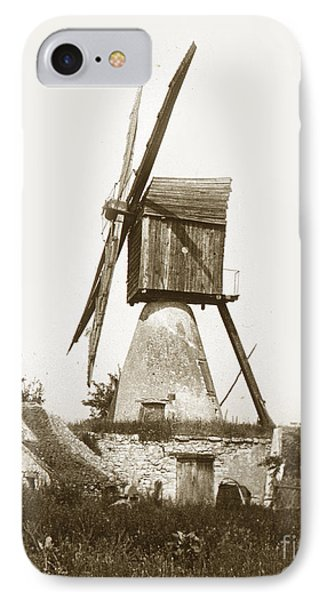 IPhone Case featuring the photograph Wind Mill In France 1900 Historical Photo by California Views Mr Pat Hathaway Archives