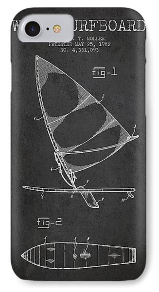 Wind Surfboard Patent Drawing From 1982 - Dark IPhone Case by Aged Pixel