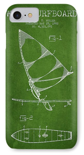 Wind Surfboard Patent Drawing From 1982 - Green IPhone Case