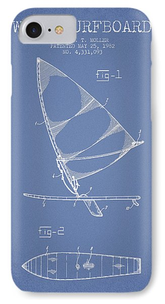 Wind Surfboard Patent Drawing From 1982 - Light Blue IPhone Case