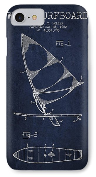 Wind Surfboard Patent Drawing From 1982 - Navy Blue IPhone Case