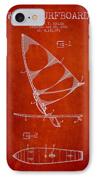 Wind Surfboard Patent Drawing From 1982 - Red IPhone Case