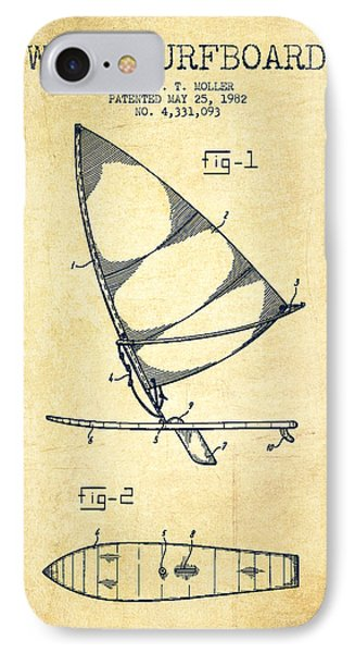 Wind Surfboard Patent Drawing From 1982 - Vintage IPhone Case