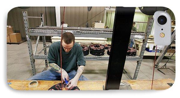 Wind Turbine Manufacturing IPhone Case by Jim West