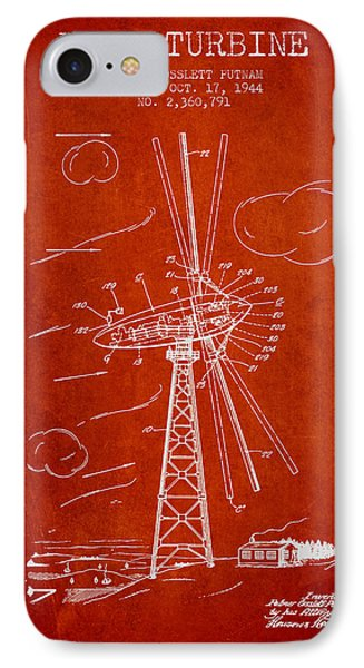 Wind Turbine Patent From 1944 - Red IPhone Case by Aged Pixel
