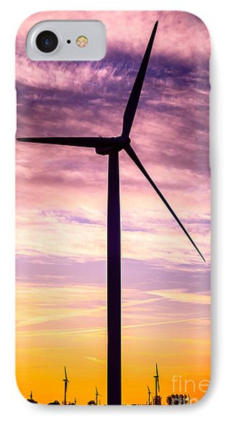 Wind Turbine Picture On Wind Farm In Indiana IPhone Case by Paul Velgos