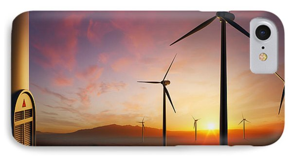 Rural Scenes iPhone 7 Case - Wind Turbines At Sunset by Johan Swanepoel