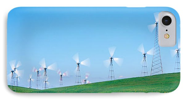 Wind Turbines Spinning On Hills IPhone Case by Panoramic Images