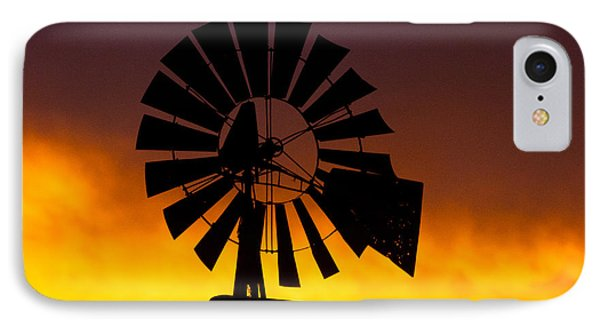 IPhone Case featuring the photograph Windmill Ablaze by Shirley Heier