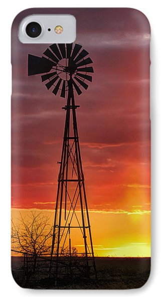 IPhone Case featuring the photograph Windmill And Light Pillar by Rob Graham
