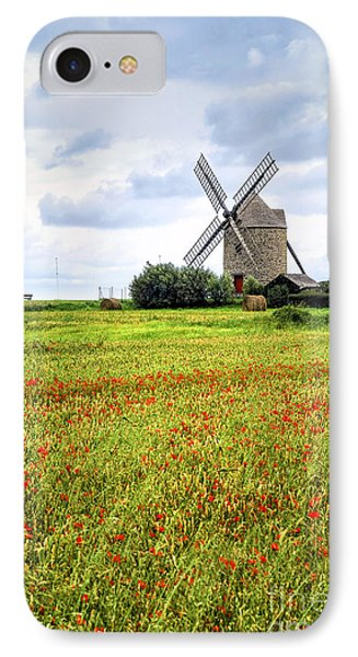 Windmill And Poppy Field In Brittany IPhone Case by Elena Elisseeva