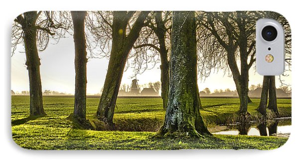 Windmill And Trees In Groningen IPhone Case by Frans Blok