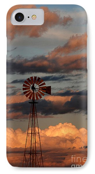 Windmill At Sunset V IPhone Case by Cindy McIntyre