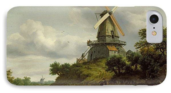 Windmill By A River IPhone Case by Jacob Isaaksz or Isaacksz van Ruisdael