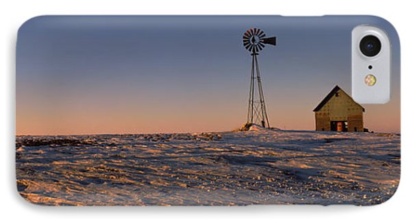 Windmill In A Snow Covered Farmland IPhone Case