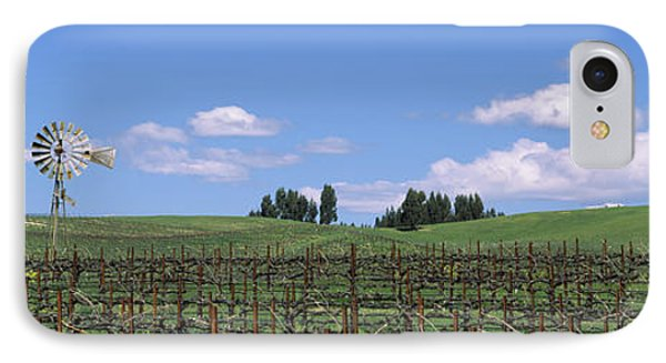Windmill In A Vineyard, Napa County IPhone Case by Panoramic Images