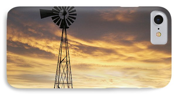 IPhone Case featuring the photograph Windmill In Soft Blue Sky by Shirley Heier
