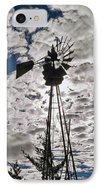 IPhone Case featuring the digital art Windmill In The Clouds by Cathy Anderson