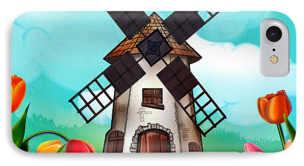 Windmill Path Phone Case by Bedros Awak