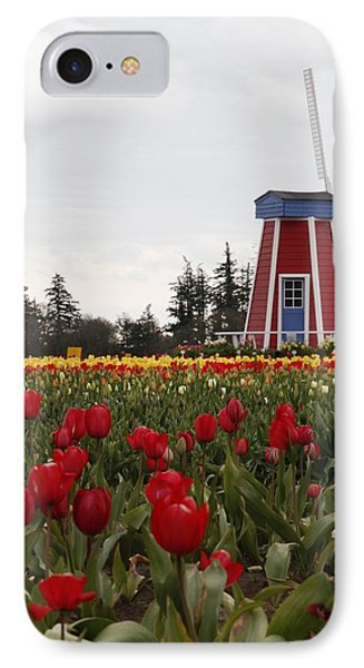 Windmill Red Tulips IPhone Case by Athena Mckinzie