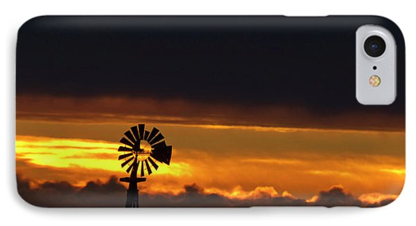 Windmill Silhouetted Against The Sunset IPhone Case