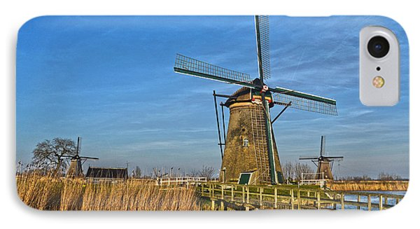 IPhone Case featuring the photograph Windmills And Bridge Near Kinderdijk by Frans Blok