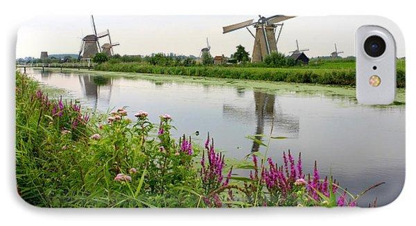 Windmills Of Kinderdijk With Wildflowers Phone Case by Carol Groenen