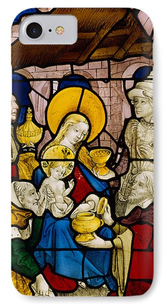 Window Depicting The Adoration Of The Kings Phone Case by Flemish School