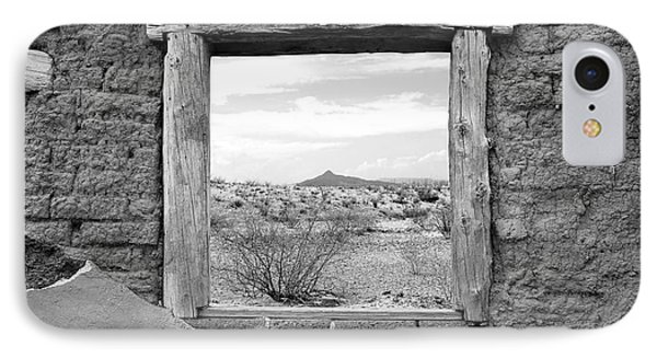 Window Onto Big Bend Desert Southwest Black And White IPhone Case by Shawn O'Brien