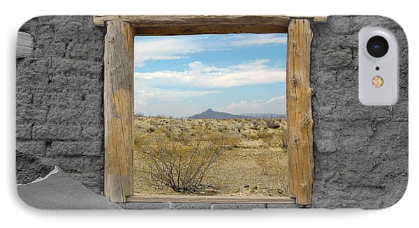 Window Onto Big Bend Desert Southwest Color Splash Black And White IPhone Case by Shawn O'Brien