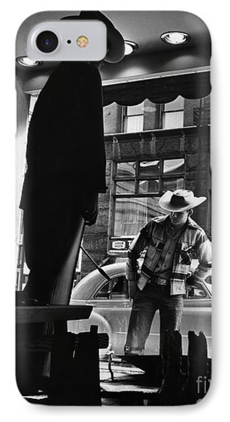 Window Shopping Cowboy Phone Case by Photo Researchers