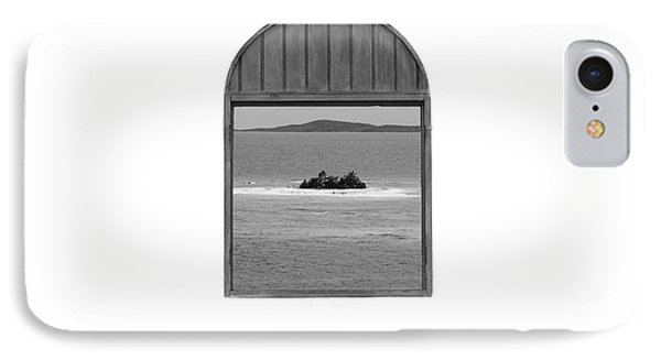 Window View Of Desert Island Puerto Rico Prints Black And White Phone Case by Shawn O'Brien